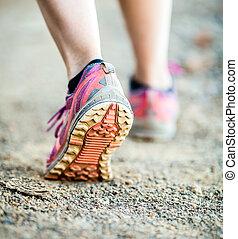 gehen, oder, rennender , beine, abenteuer, und, trainieren