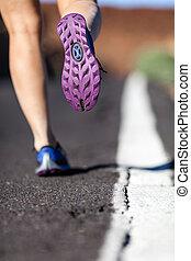 gehen, oder, rennender , beine, in, berge, abenteuer, und, trainieren