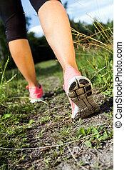 gehen, oder, rennender , beine, in, wald, sommer, natur,...
