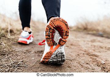 gehen, oder, rennender , beine, sport schuhe