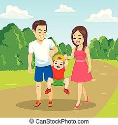 gehen, park, familie, zusammen