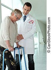 gehen, patient, doktor, rahmen, senioren, portion