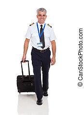 gehen, pilot, aktentasche, fluggesellschaft