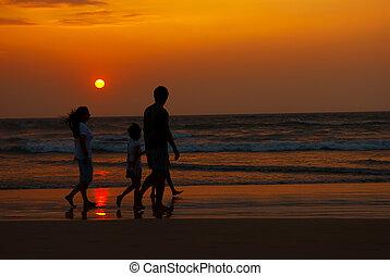 gehen, silhouette, familie, kueste, sonnenuntergang, entlang