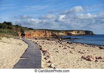 gehen, strand, in, winter, in, portugal