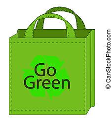 gehen, tasche, shoppen, grün, wiederverwendbar