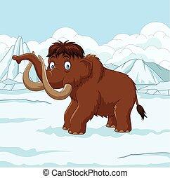 gehen, verschneiter , wollig, feld, mammut, durch, karikatur