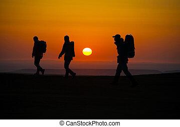 gehen, wanderer, sunglow