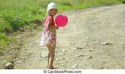 gehen weiter, straße, wenig, ländlich, balloon, m�dchen,...