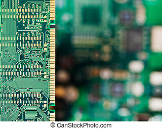 geheugen, kaart, met, computer, moederbord