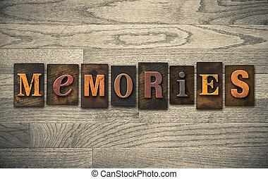 geheugens, houten, letterpress, concept