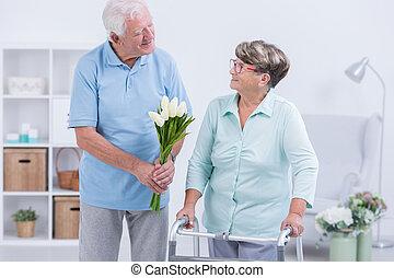 gehhilfe, ältere frau