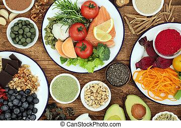 gehirn, funktionen, ankurbeln, gesundheit nahrung, kognitiv