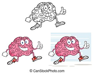 gehirn, jogging, zeichen, karikatur