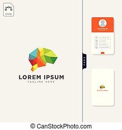 gehirn, molekular, technologie, logo, schablone, vektor, abbildung, und, frei, geschäftskarte, design