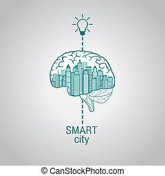 gehirn, technologie, ?, modern, innovativ, klug, stadt, stadt, begriff, gebrauchend