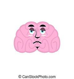gehirne, verstand, freigestellt, traurige , gehirn, emotion., menschliche , sorrowful., emoji