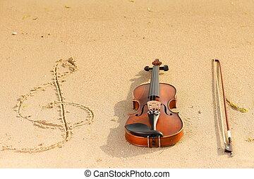 geige, und, g-notenschlüssel, auf, strand., musik, begriff