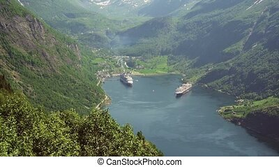 Geiranger fjord area, Norway. Aerial view at summer time.
