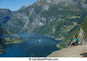 geiranger fjord, norway., natur, schöne