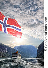 Geiranger fjord with cruise trip in Norway