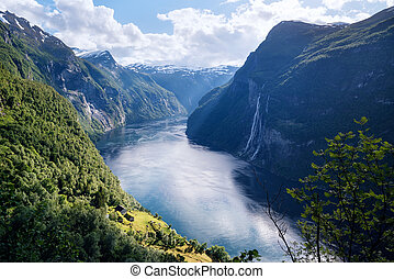 geirangerfjord, fjord, et, les, sept soeurs, chute eau, norvège