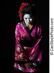 geisha, accueil, isolé, noir, respect, portrait