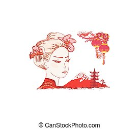 Geisha and Chinese lanterns