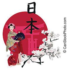 Geisha and Kanji - Illustration with a Geisha, cherry...