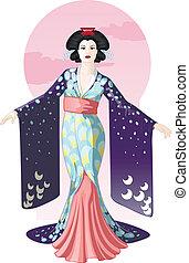 geisha, disegno, carattere, retro, attraente, attrice, ...