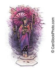 Geisha drawn with pencil