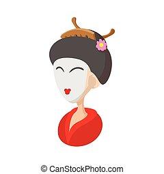 Geisha icon, cartoon style
