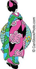 geisha ,japan girl,line art ready for your design work