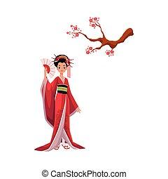 Geisha in kimono and cherry tree, sakura branch