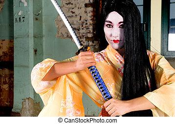Geisha in kimono