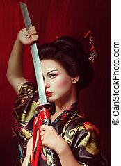 geisha in kimono with samurai sword