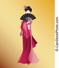 Geisha in pink - A vector illustration of a Geisha dressed...