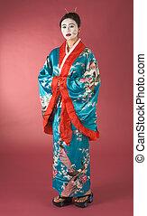Geisha in yukata - Asian female with geisha style face paint...