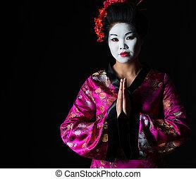 geisha, isolé, ensemble, noir, mains, portrait, respect, geste