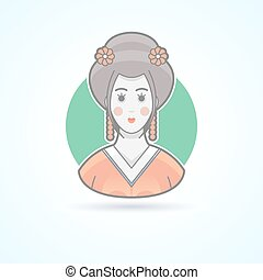 Geisha, japanese traditional woman dress, kimono girl icon. Avatar and person illustration. Flat colored outlined style.