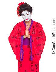 geisha, mains, isolé, ensemble, respect, portrait, blanc, geste