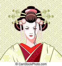 Geisha modern - Modern attractive geisha portrait in...