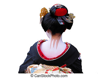 Geisha neck - Unusual and very characteristic painted neck...