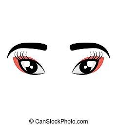 geisha, olhos, ícone, vista