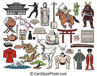 geisha, sushi, temple, asiatique, japonaise, icônes, fuji