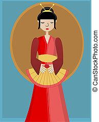 geisha, ventilador, contra, plano de fondo, tenencia