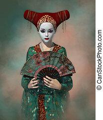 geisha, weinig; niet zo(veel), cg, 3d