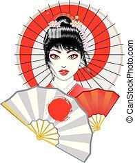 Geisha with Fan and Umbrella - Portrait of geisha with...