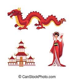 Geisha with fan, dragon, pagoda vector set