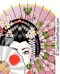 Geisha with Fan - Oriental girl with traditional geisha...